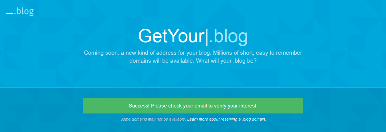 Get Your (Dot).Blog Domain