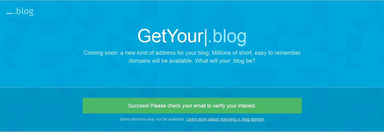 Get Your (Dot).Blog Domain